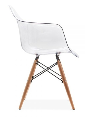 Daw Chair With A Transparent Shell Side View