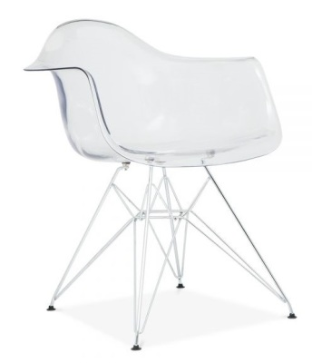 Eames DAR Chair With A Transparent Shell Front View