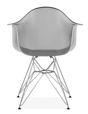Eames DAR Chair With A Transparent Smoked Grey Shell Rear View