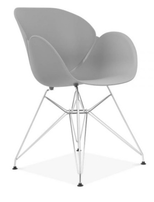 Eames Inspired Butterfly Chair With A Grey Shell And Metal Legs Front Angle View