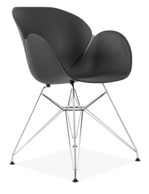 Eames Inspired Butterfly Chair With A Black Shell And Metal Legs Front Angle
