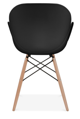 Eames Butterfly Chair With A Black Shell And Wooden Legs Rear Shot