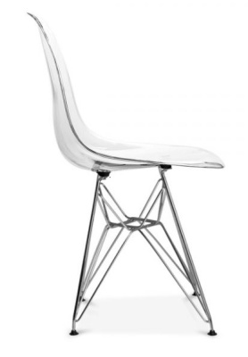 Eames DSR Chair With A Transparent Seat Side On