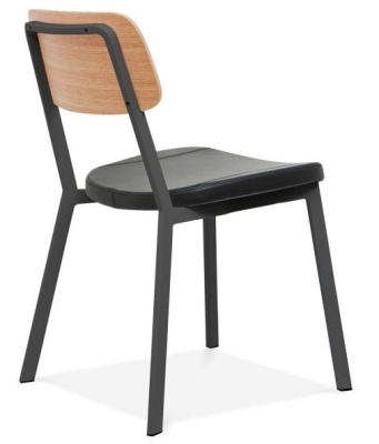 Rica Chair With A Black PU Seat Rear Angle