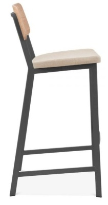 Rica High Stool With A Cream Upholstered Seat And Black Frame Side View