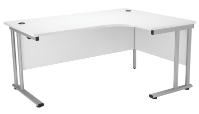 Velocity Right Hand Corner Desk With A White Top And Silver Frame