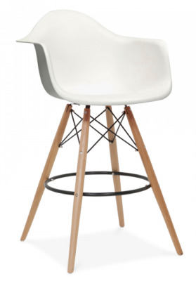 Eames DAW High Stool With A White Seat Front Angle