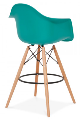 Eames DAW High Stool With A Teal Seat Rear Angle