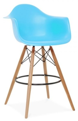 Eames Daw High Stool With A Light Blue Seat Front Angle