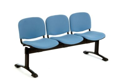 Tommy Waiting Room Beam Seating With Three Blue Upholstered Seats And T Leg Feet