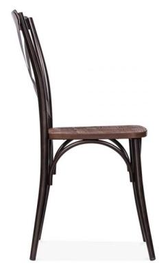 Cross Back Steel Chair Side Angle