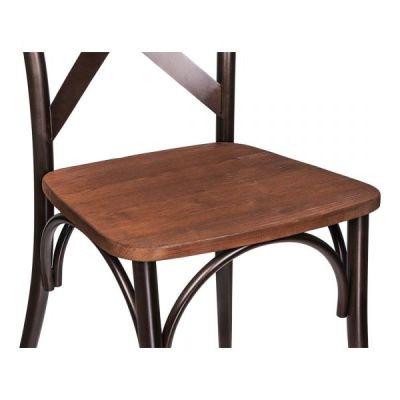 Cross Back Metal Chair Wooden Seat