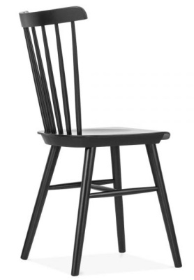 Eton Wooden Chair In Black Rear Angle