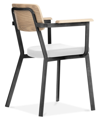 Rica Wooden Arm Chair With A Black Frame And Whiet Faux Leather Seat