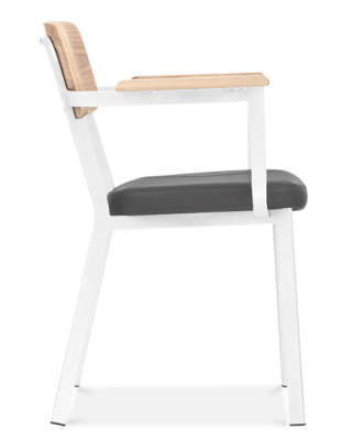 Rica Dining Arm Chair With A White Frame And Black Faux Leather Seat Side View