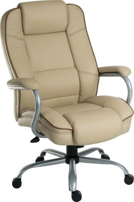 Goliato Chair Cream Leather Front Angle