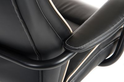 Goliato Chair Black Leather Detail Shot 1