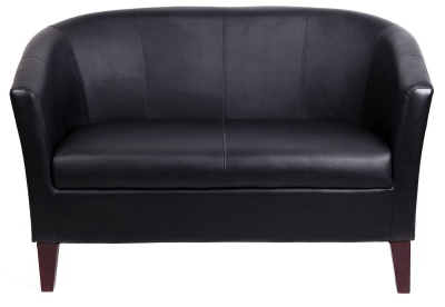 Leicester Black Leather Two Seater Sofa Facing