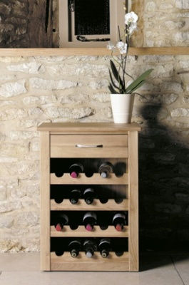 Warwick Solid Oak Lamp Table And Wine Rack 1