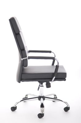 Evoque High Back Chair Black Leather Side View