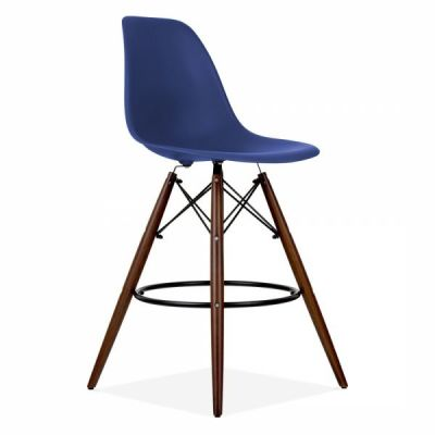 Eames Inspired DSW Stool With Walnut Legs And Navy Blue Seat