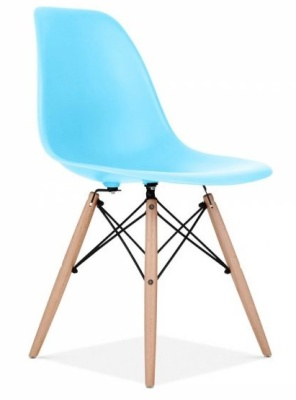 Eames Inspired DSW Chair Light Blue Front Angle