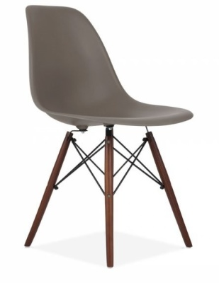 Eames Inspired DSW Chair Walnut Legs Dark Grey Shell Angle Shot