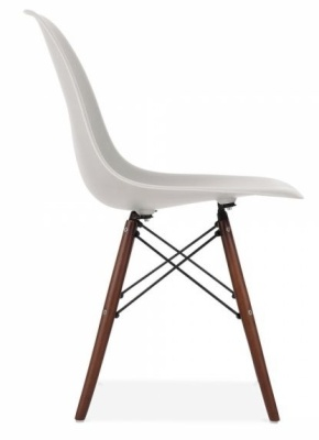 Eames Inspired DSW Chair With A Light Grey Shell And Walnut Legs Side View