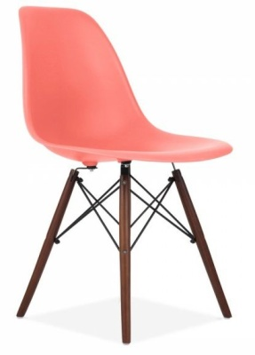 Eames Inspired Dsw Chair W3ith A Blush Oink Shell And Walnut Legs Angle