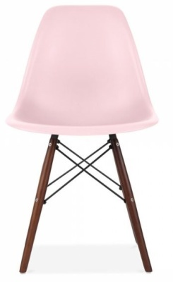 Eames Inspired Dsw Chair With Walnut Legs And A Baby Pink Seat Front Shot