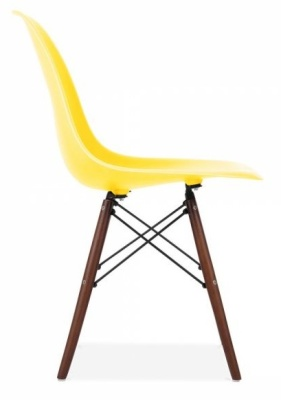 Eames Inspired Dsw Chair With A Lemon Seat And Walnut Legs Side View