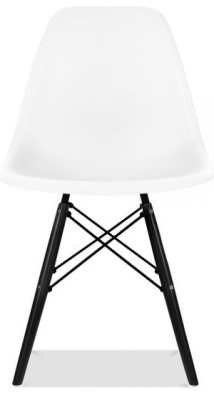 Eames Inspired Dsw Chair With A White Chair And Walnut Legs Front View