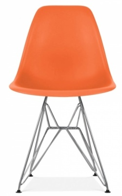 Eames Inspired Dsw Chair Orange Seat Front Face