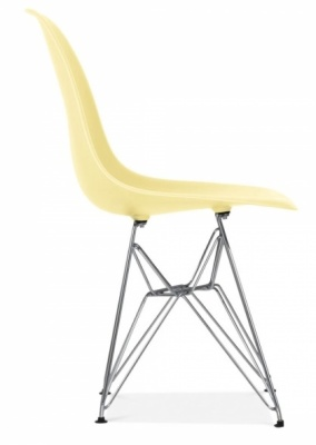 Eames Inspired DSW Chair Lemon Seat Side Angle