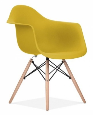 Eames Inspired DAW Chair Olive Green Seat Front Angle