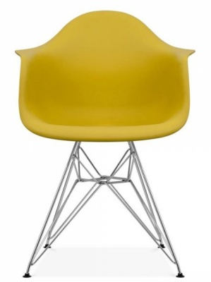 Eames Inspired DAR Chair With An Olive Green Seat Front Shot