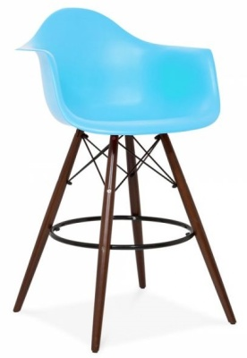 Eames DAW High Stool With Walnut Legs Front Angle