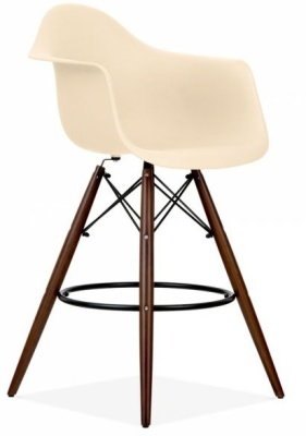 Eames Inspired SAW High Stool With Walnut Legs And A Cream Seat