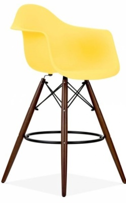 Eames Inspired DAW High Stool With Walnut Legs Front Angle View