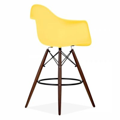 Eames Inspired High Stool With A Yellow Seat And Walnut Legs Rear Angle Shot