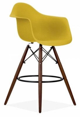 Eames DAW High Stool With An Olive Green Seat And Walnut Legs
