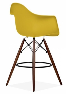 Eames DAW Inspired High Stool With An Olive Green Seat And Walnut Legs
