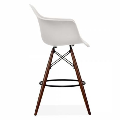 Eames Insp[ired DAW High Stool With A Light Grey Seat And Walnut Legs