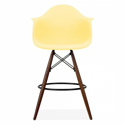 Eames Daw Inspired High Stool With A Lemon Seat And Walnut Legs Front View