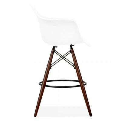 Eames Daw High Stool With Walnut Legs And A White Seat Side Shot