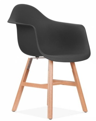 Eames Inspired DAW Chair With Oxford Legs And A Black Seat Front Angle