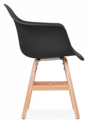 Eames Inspired DAW Chair With Oxord Legs And A Black Seat Sidde View