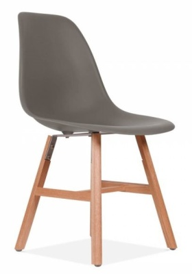 Eames Inpired DSW Cjair With A Warm Grey Seat And Oxford Legs Angle Shot