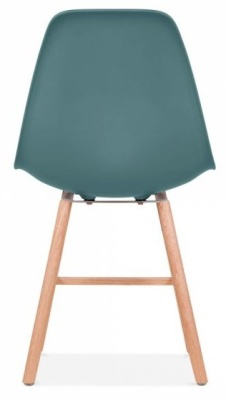 Eames Inspired DSW Chair With Teal Seat And Oxford Legs Rear Shot