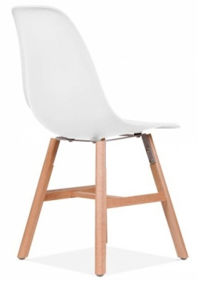 Eames Inspired Dsw Chair With A White Seat And Oxford Legs Rear Angle